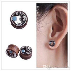 2018 Nueva antiguo plateado sirena Piercing túneles tapones para los oídos Medidores de madera del cuerpo expansor oído de la joyería de acero 316L médicos joyería del cuerpo