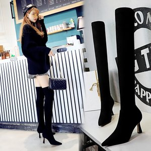 Winter Women Stretch Long Boots Shoes Woman Pumps Female Slim Sexy Over the Knee High heels Party Long Boots Suede Boots