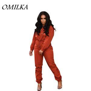 OMILKA Front Zipper Jacket and Long Pant Set 2019 Autumn Women Long Sleeve Pink Orange Blue Casual Loose 2 Piece Tracksuits Set