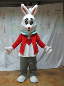 Professional custom Red Rabbit Mascot Costume Cartoon Easter bunny Character Clothes Christmas Halloween Party Fancy Dress
