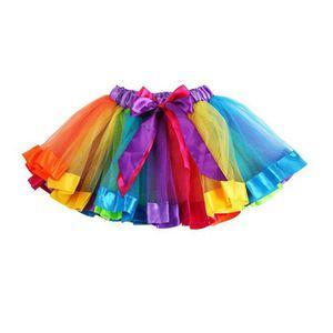Girls Kids Rainbow Pettiskirt Petticoat Bowknot Skirt Tutu Skirt Children Chiffon Dancewear Tulle Toddler Petti Dance Dropship