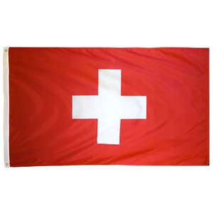 Aerlxemrbrae flag Swiss 100% Polyester Switzerland Flag 3x5 ft Flag 90 X 150CM