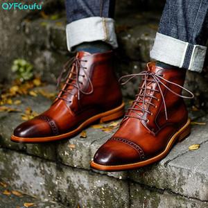 Stivali NUOVI uomini QYFCIOUFU casuale del cuoio genuino Lace-up della caviglia Nero Marrone Stivali Casual Scarpe Stivale epoca uomini