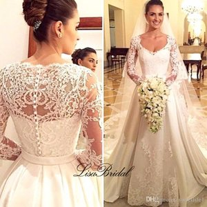 Vestidos de noiva Long Wedding Dress 2020 V Neck Long Sleeves Lace A Line Bride Dress Ball Gown