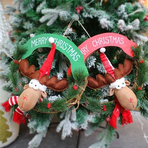 Weihnachten Elch Kranz Weihnachtsbaum Dekoration Tür Wand hängen Dekor-Party Deko-Objekt