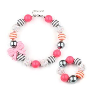 Nette Prinzessin Bow Chunky Bubblegum Halskette und Armband Set Resin Bow-Knoten Kurz wulstige Schmucksets für Kinder Mädchen 2 Styles