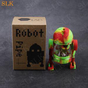 Verre robot bouteille forme fumer pipe en gros silicone dab rig en plastique acrylique pliable bong tuyau souple pour magasin de vaporisateur