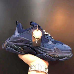 Triple S Shoes Men Blue Triple S Sneaker Mulheres Plataforma Couro Calçados Casual Low Top Lace Up Sneakers Com Limpar Sole