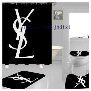 Popüler Logolar Y Baskı Duş Perde Lüks Perde Büyük Marka Moda Siyah Perde Europen Stil Koyu Renk Perdeler Tuvalet Kapak SetJH01