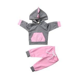 Fashion 2Pcs Newborn Baby Girls Boys 3D Dinosaur Clothing Set Long Sleeve Hooded Tops Sweatshirt Pants Autumn Outfits Clothes