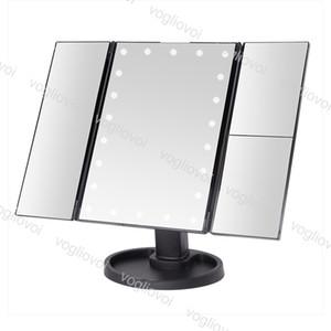 LED 메이크업 미러 22 LED 가벼운 터치 스크린 1x / 2x / 3x 돋보기 3 접이식 허영심 소형 거울 유연한 화장품 거울 DHL