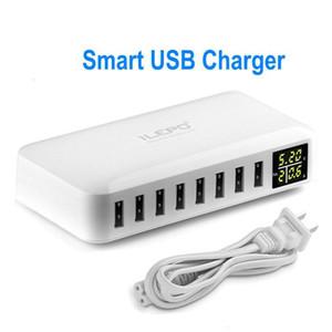 8 puertos USB Smart cargador con pantalla LCD 8A Salida de alta velocidad adaptador múltiple Viajar cargadores de teléfono para el teléfono Android Móvil