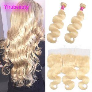 Virgen india del pelo Extensiones los paquetes con 13x4 encaje frontal Rubia 613 Color de la onda del cuerpo de las tramas del pelo con 13 * 4 frontal Rubio Color