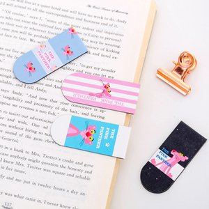 Magnetic Bookmark Cute Cartoon Rosa Leopard Magnet flip creativo Fun Student Mini Book Folder Stationery Office alimentazione