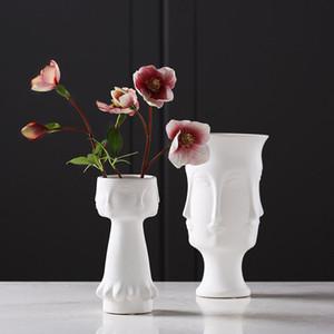 Creative Fleur Vase Visage Humain Blanc Vase En Céramique Ornements Artisanat Cadeaux Ameublement Nordic En Céramique Art Décoration