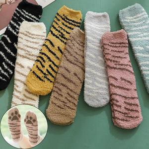 1 paio Inverno corallo del panno morbido dei calzini di stile giapponese Mezza Fleece Carino spessore caldo Sleeping Piano Femmina bella Cat Claws peluche Socks
