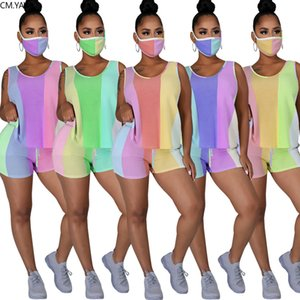 Women Tracksuits Striped With Mask Two Pieces Sets Tracksuits Tank Tops Shorts Suit Sporty Fitness Night Club 2 Pcs Outfit