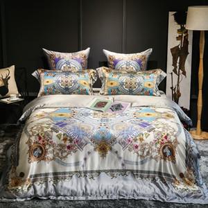 Europe Royal  100% Silk Jacquard Bedding Set Duvet Cover Bed Linen Bed sheet Pillowcase Queen King Size Bedclothes Sets