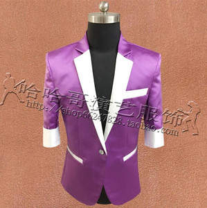 Sky Blue Clothes Men Small Suits Designs Masculino Homme Terno Stage Singers Jacket Men Sequins Blazer Dance Star Style Punk