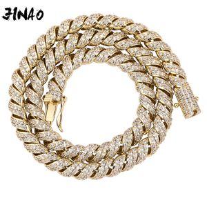 JINAO New Fashion10mm Oro Argento Colore colonnare fibbia twist catena placcato Iced Out Zircone Cubano Links Collana Degli Uomini