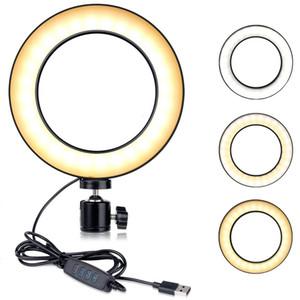 Fotografia LED Selfie Ring Light 14 / 20cm Três velocidades Stepless Lighting Light Dimmable Circle Light com Berço Cabeça para Maquiagem Vídeo Live Youtube