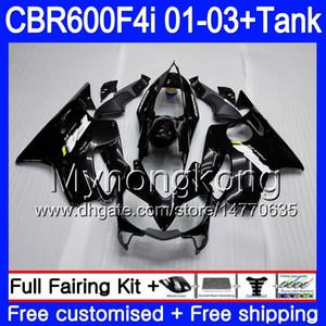 바디 + 탱크 혼다 용 CBR 600 F4i CBR 600F4i CBR600FS 600 FS 286HM.1 CBR600F4i 광택 블랙 핫 01 02 03 CBR600 F4i 2001 2002 2003 페어링