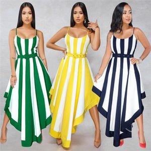 Spaghetti Strap lambrissé Robes Sexy Ladies Vacances Fashion Designer Vêtements d'été Femme rayée robe bohème Femmes