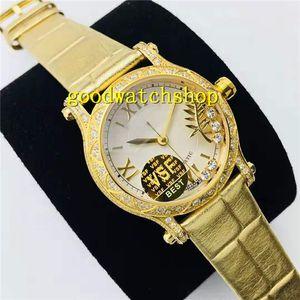 VS 18K Happy Sport mujer del reloj de señoras del diamante reloj suizo automático de la correa 9015 28800 VPH cristal de zafiro diamante bisel de piel