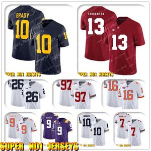 5-24 NCAA 10 Tom Brady 13 Tua Tagovailo Alabama Crimson Tide College Football Jersey Matthew Stafford Barry Sanders T.J. Hockenson