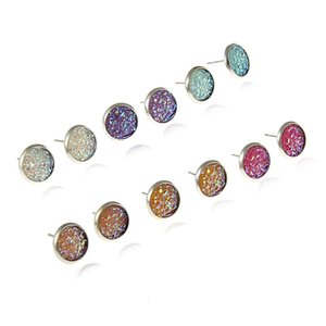 6pair lot colorful earring crystal surface irregular uneven stud earring fahsion gift for her