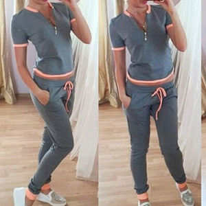 New Women Summer Sexy Fashion Casual Short Sleeves Tracksuits Zip Up Sportswear Suits Y19062601