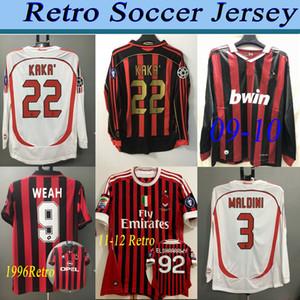 09 11 12 Retro Milan Soccer Jersey Kaka Ronaldo Gilardino Inzaghi Retro Camiseta 2006 2007 Manga Longa Milan Soccer Jersey Clássico Vintage