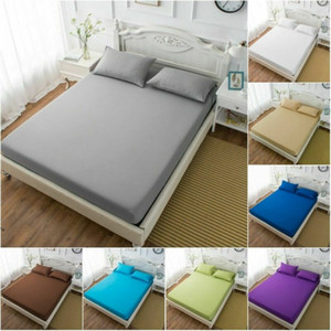 Fitted Sheet Mattress Cover Solid Color Sanding Bedding Polyester & Cotton Sheets With Elastic Band Double Queen Size Bedsheet