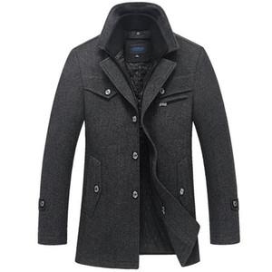 Kış Coat Erkekler Yeni Moda Çift Yaka Windproof Kalınlaşmak Yünlü Palto Erkek eskitmek Kış Ceket Kalın Parka 5XL Giyim T191215 Isınma
