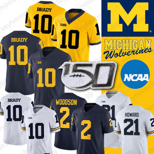 NCAA Michigan Wolverines Jersey Desmond Howard 10 Tom Brady 2 Charles Woodson Shea Patterson College Futbol Jersey