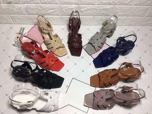2019 yüksek kalite 9 renkler bahar yeni yüksek topuklu sandalet Avrupa ve Amerika Birleşik Devletleri moda çapraz kaba kadın sandalet ...