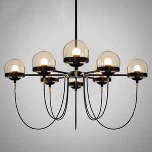 Moderna sfera di vetro Bronze Chandelier Lamp Hotel Home Living Camera da letto Cucina Pendant Light Fixture PA0223