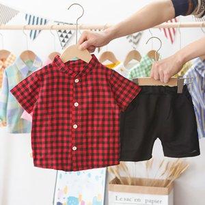 보이 라운드 넥 정장 여름 아동 의류 어린이 반소매 블랙 레드 Lattice 상위 + 반바지 보이 복장 의류 2020