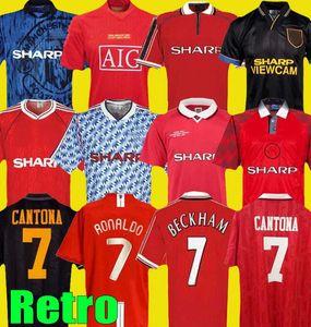 Homem 1994 1996 1998 1999 07 08 90 92 Manchester Retro United Soccer Jersey Utd RONALDO BECKHAM CANTONA KEANE SCHOLES GIGGS FUTEBOL CAMISA