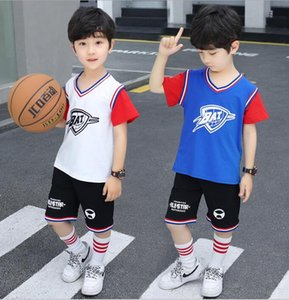 Best selling boys' summer basketball suit medium and large children's short sleeve letter T-shirt + trousers 2-piece set fashionable manufac