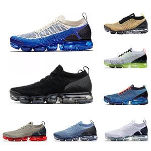 Nike Air Vapormax 2.0 Tasarımcı Erkek Kadın Koşu Ayakkabıları Üçlü Siyah Beyaz Spor Mavi Koyu Sıva Ruhu Volt Trainer Atletik Spor Sneaker Yürüyüş Ayakkabı Boyutu 36-45