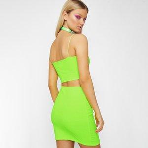 2019 estate delle donne delle bretelle Skirt Suit FemaleTwo Set Piece Donne Outfit Streetwear casuale Skirt Set