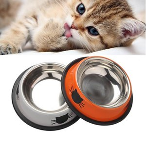 Dog Cat Food Bowls Stainless Steel Pets Drinking Feeding Bowls Tools Pet Supplies Anti-skid Dogs Cats Water Bowl Pet Product
