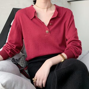 Spring and Autumn Red New Style Sweater Women's Shirt Lapel Sweater Bottoming Shirt knit women