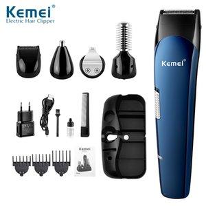 Maquinilla Kemei 5 en 1 recargable del condensador de ajuste del pelo pelo Titanium Clipper máquina de afeitar eléctrica barba Trimmer de USB cargable afeitar Clippers 550