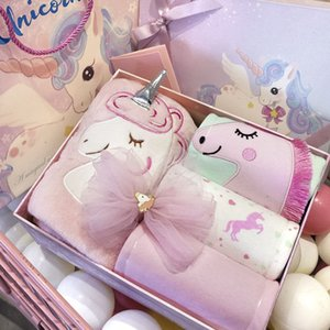 New 5pcs Baby Unicorn Clothes Set Girls 100% Cotton Cartoon Clothes Butterfly Knot Hairpin Blanket 3-6M Infants Newborn Gifts