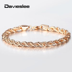 5 6mm 585 Rose Gold Twisted Rope Link Chain Bracelet for Women Men Party Wedding Fashion Jewelry Female Accessories 20cm DCB47