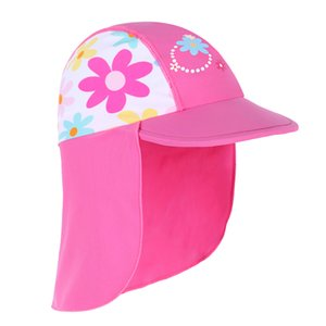 Wholesale Newest summer Swimming Cap Children Sun Protection Swim Hats Waterproof for girls Kids Outdoor sports beach Hats