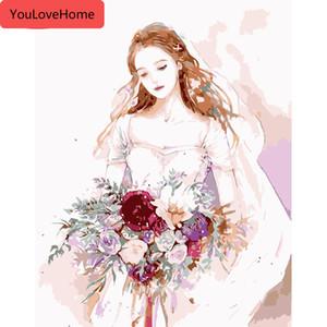 숫자 꽃 웨딩 드레스 그림 홈 인테리어에 의해 숫자 소녀 DIY의 지에 handpainted 키트 그리기 캔버스 그림으로 그리기