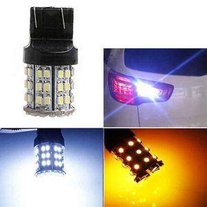 2PCS 7443 T20 1210 60SMD 듀얼 컬러 화이트 / 앰버 지그재그 자동차 Turnning 신호 백업 LED 조명